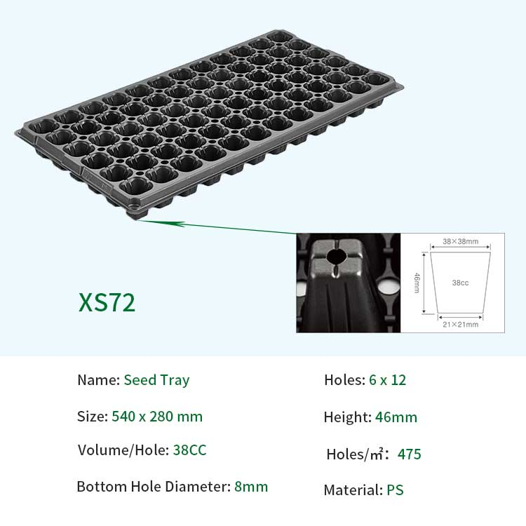 72 Hole seeding tray PS seed starter tray For Garden plant cultivation